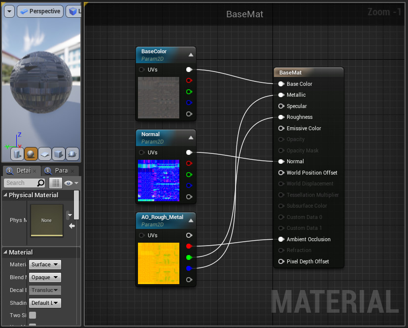This is the base material I used for most of the materials in the level, using parameters to replace the textures.