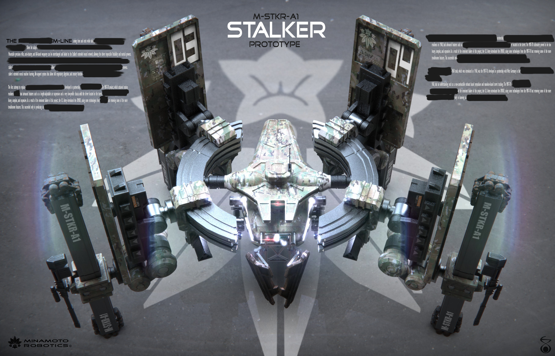 The Stalker was the last human-piloted weapon manufactured by Minamoto Robotics before the company was managed by Michael Minamoto's daughter, and Neuro-technologist, Kym Minamoto.