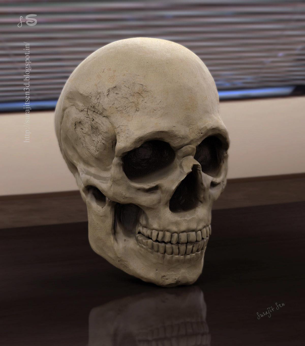 Surajit sen human skull sculpt study surajit sen