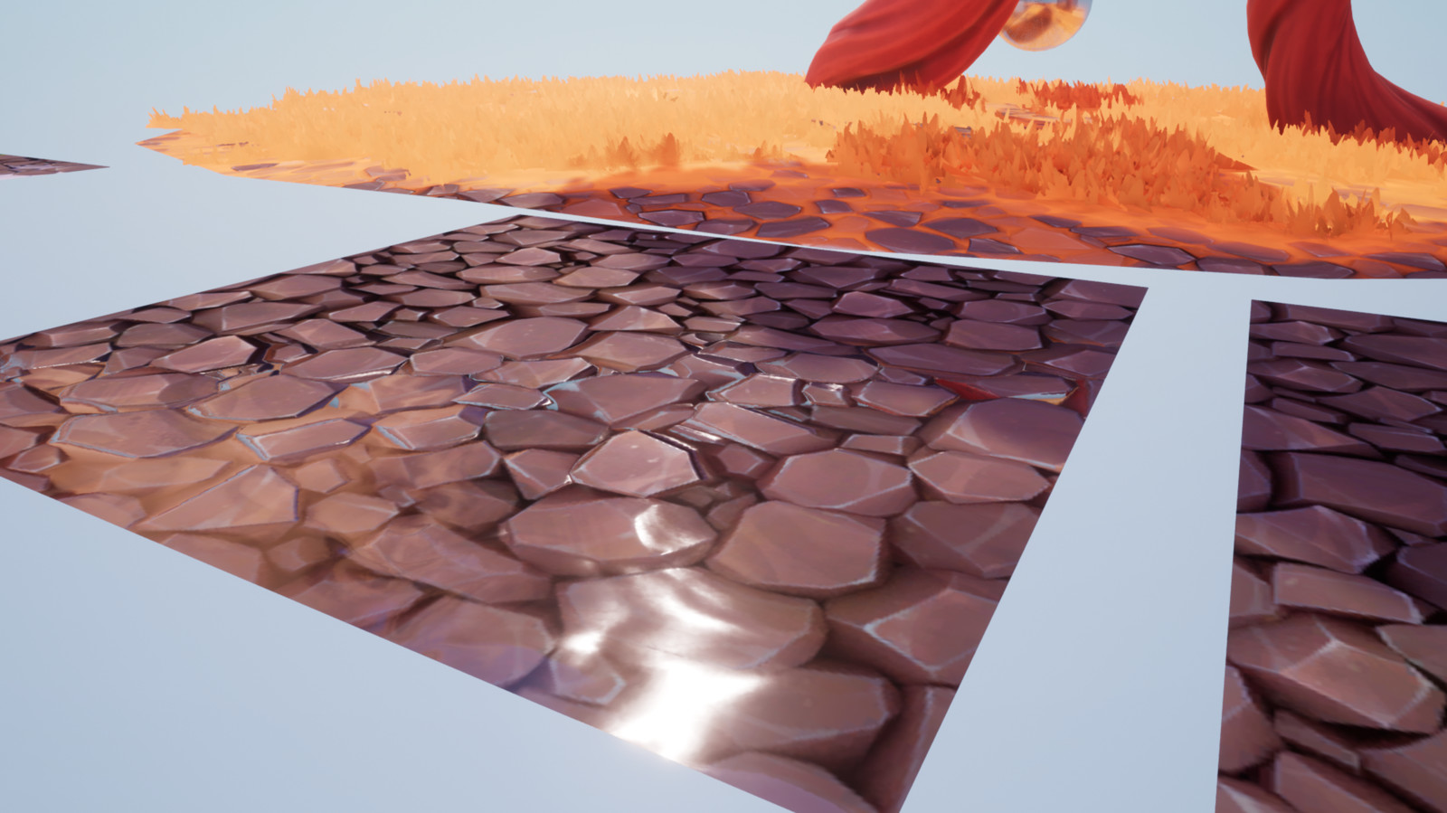 Stylized shader, simple material + water painted with alpha vertex, everything can be tweaked