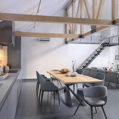Modern Loft - Kitchen Area