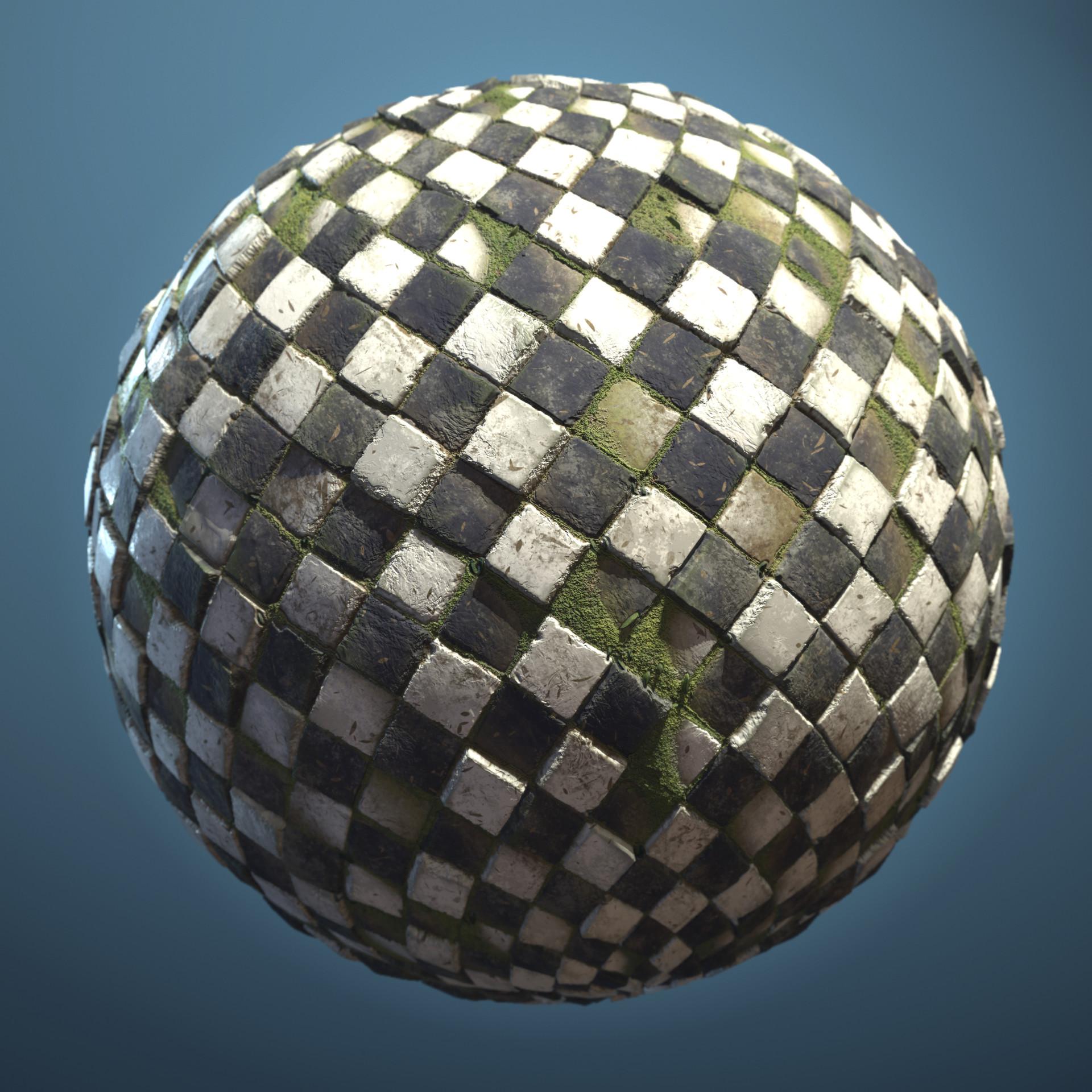 Mossy checkerboard floor