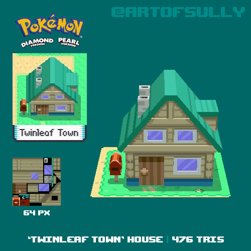 3D Pixel-Art 'Twinleaf Town' House (Pokemon Diamond/Pearl fanart)
