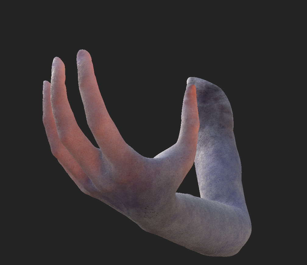 Hand detail with Subsurface Scattering on Substance Painter