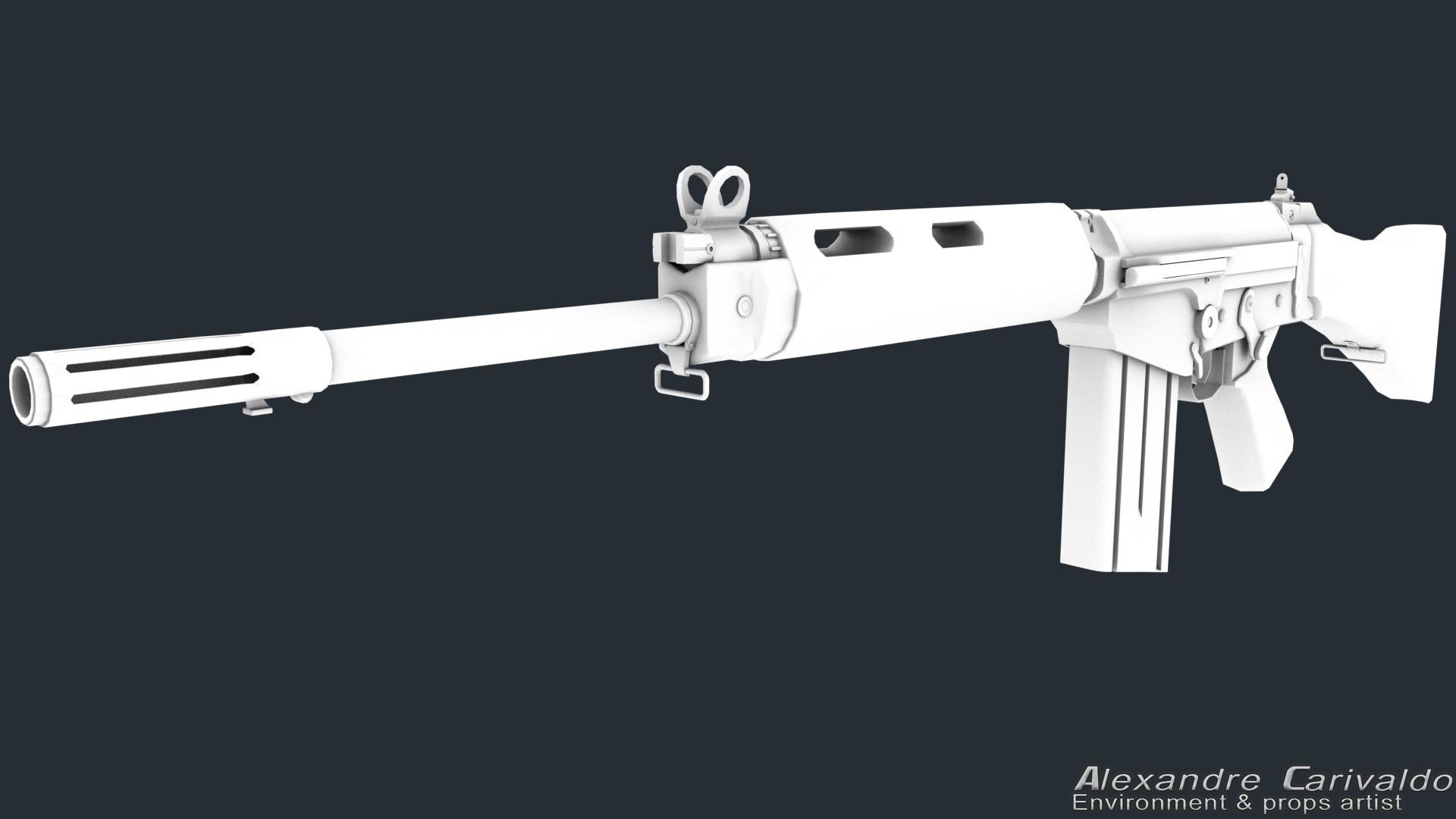 ArtStation - FN FAL 7 62mm Wood Version, Alexandre Carivaldo
