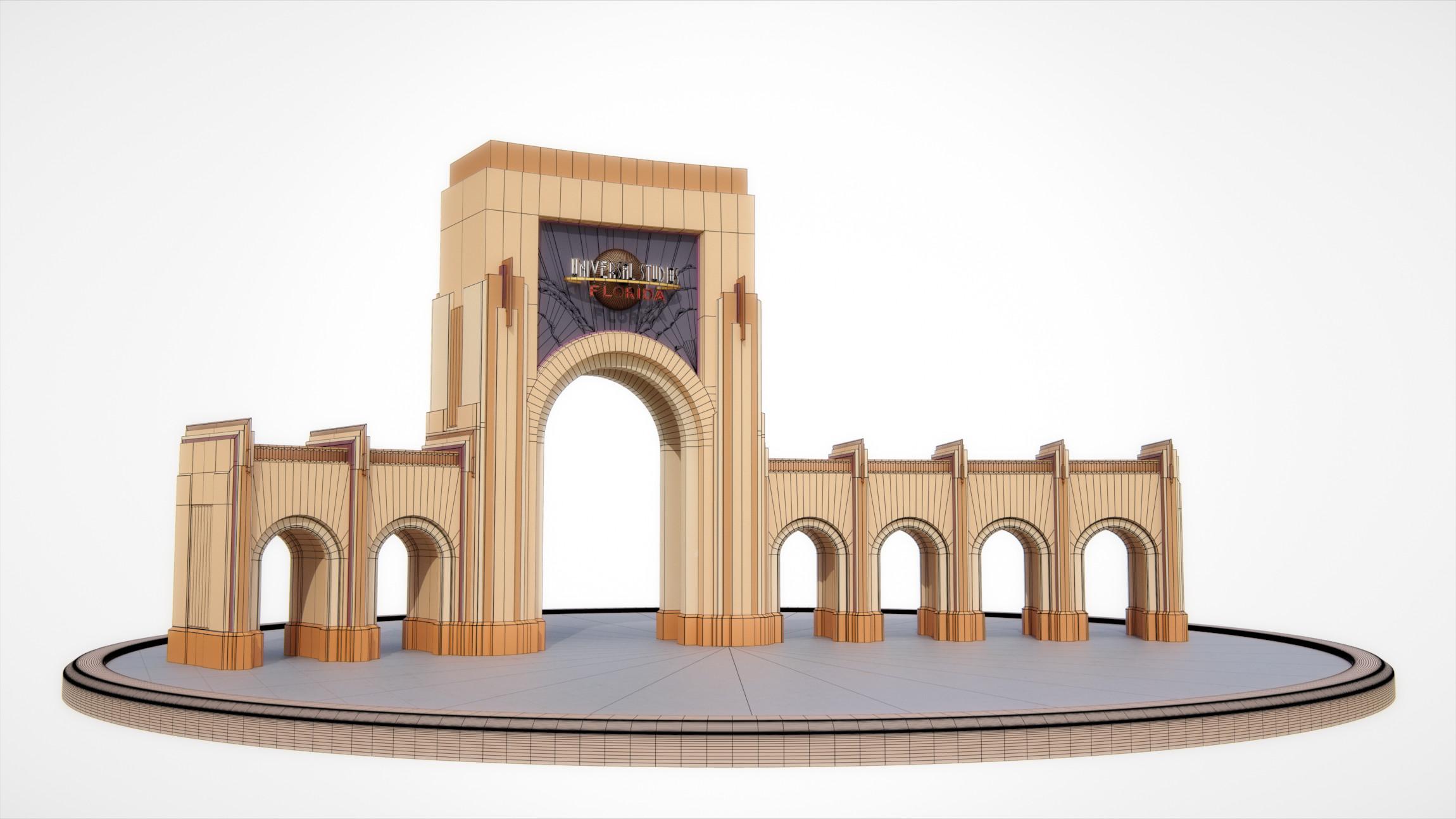 Universal Studios Florida - Entrance Archway - Wireframe