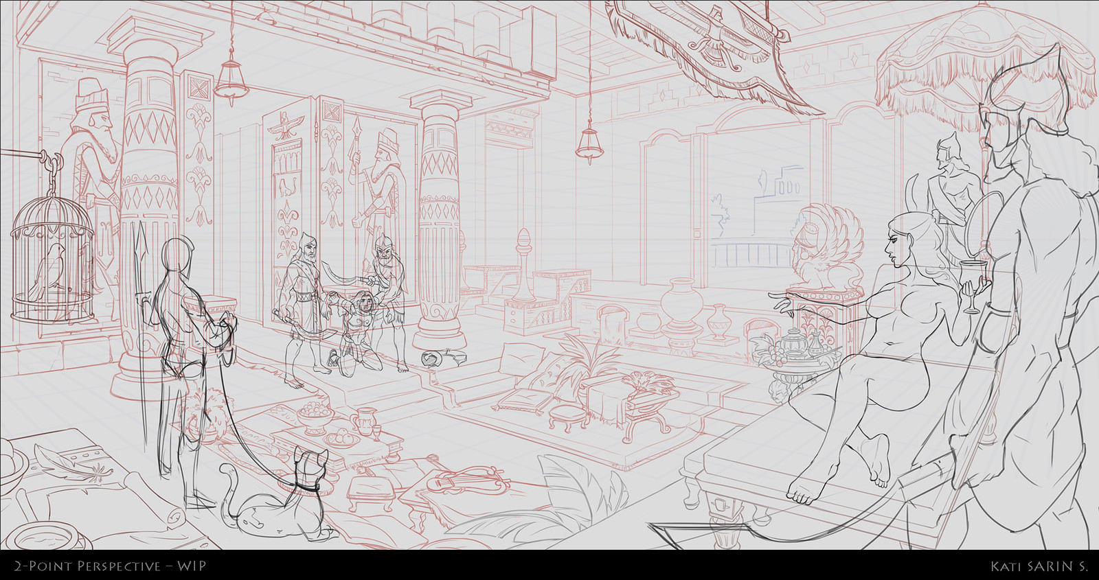 During the work in progress of making line art.