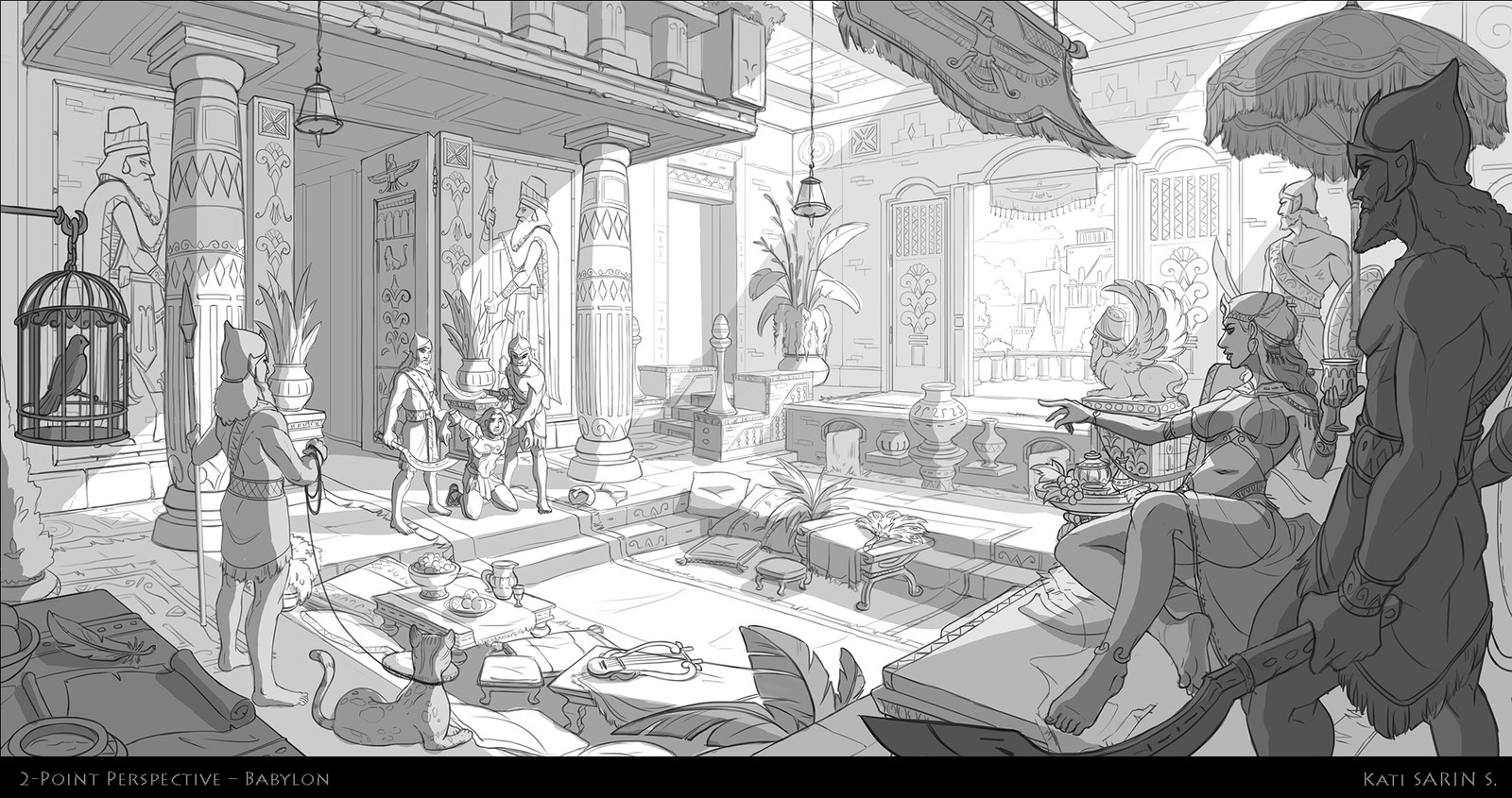 2-point perspective interior of Babylon concept.