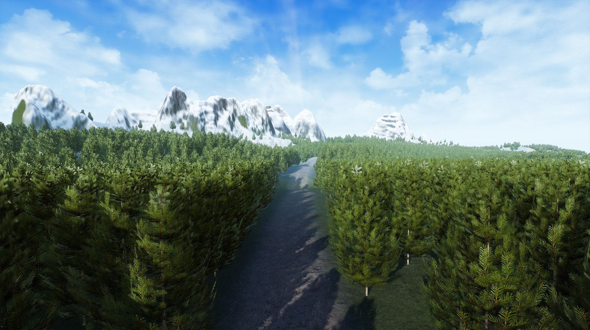 Close up of the third terrain. This image also shows the road feature and it's interaction with the foliage tool.