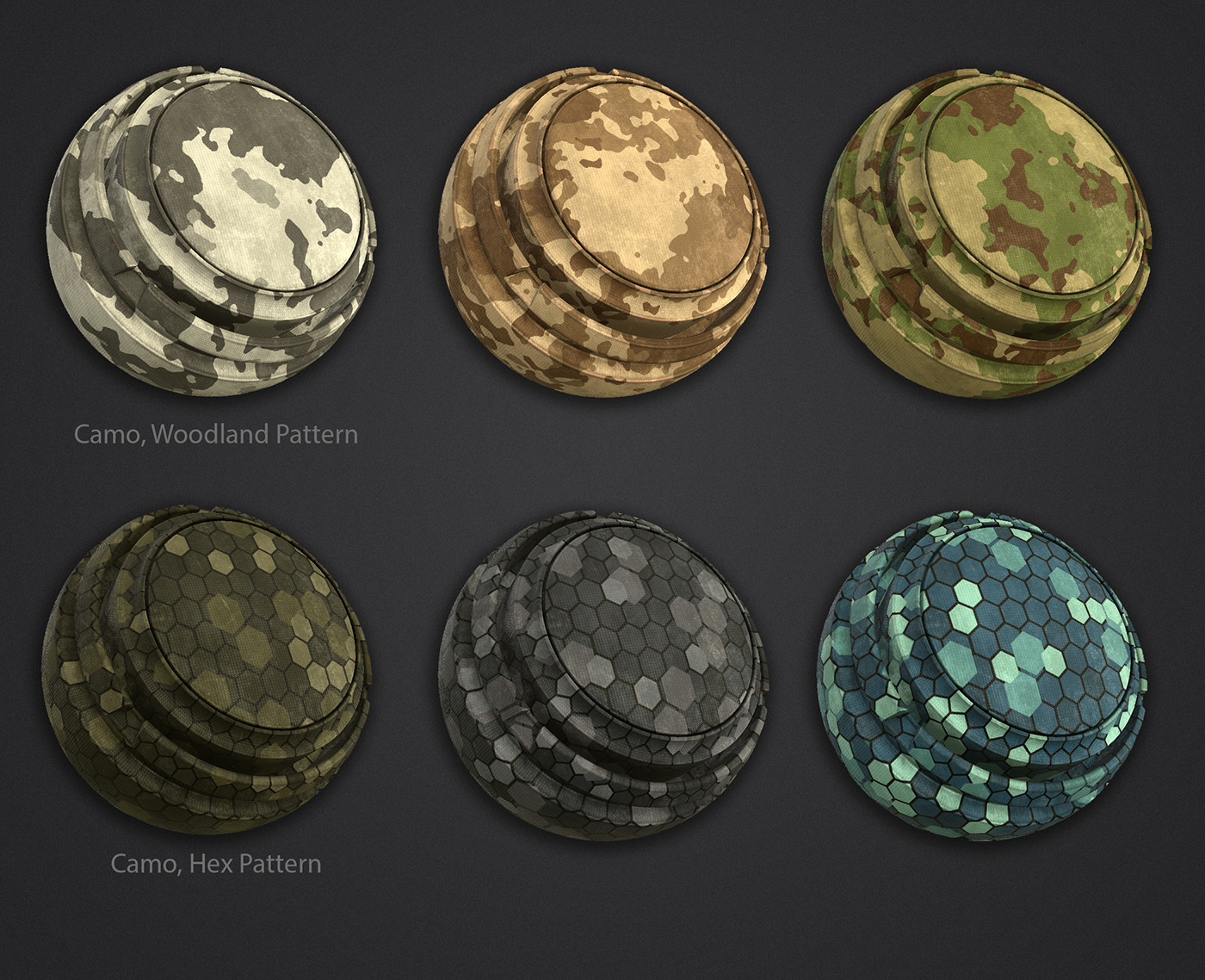 Custom camo materials.  Each color in the patterns can be customized in Painter for easy variation.  