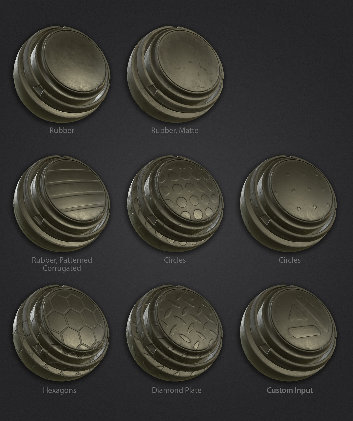 Rubber material variations.  The base material includes 5 built in patterns, and the option to input a custom image.