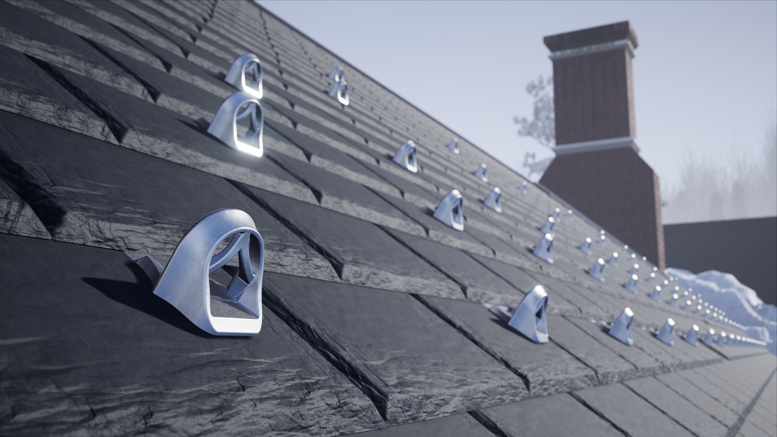 3D rendered example of a full system installed on a roof.