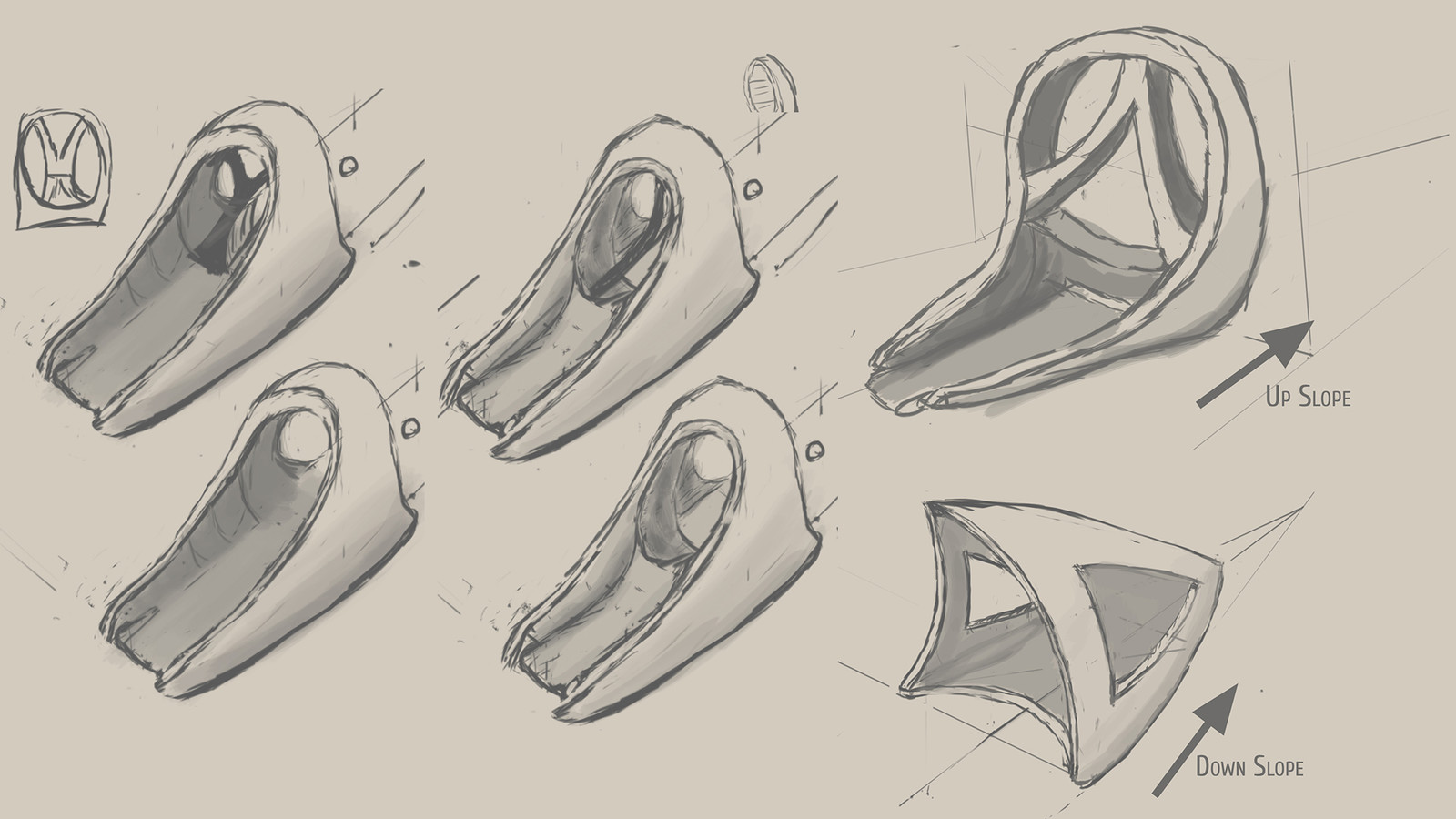 A compilation of some of the early design sketches. The team ultimately moved forward with the top right version.  This evolved into the product released in the previous images.