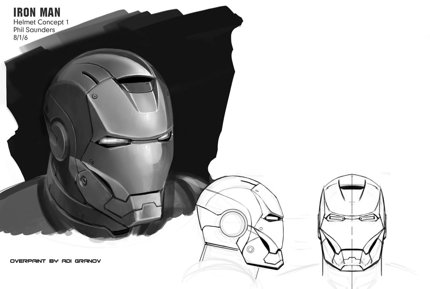 Adi Granov's paintover of the helmet, correcting my boxy proportions and adding his signature grace and flow...