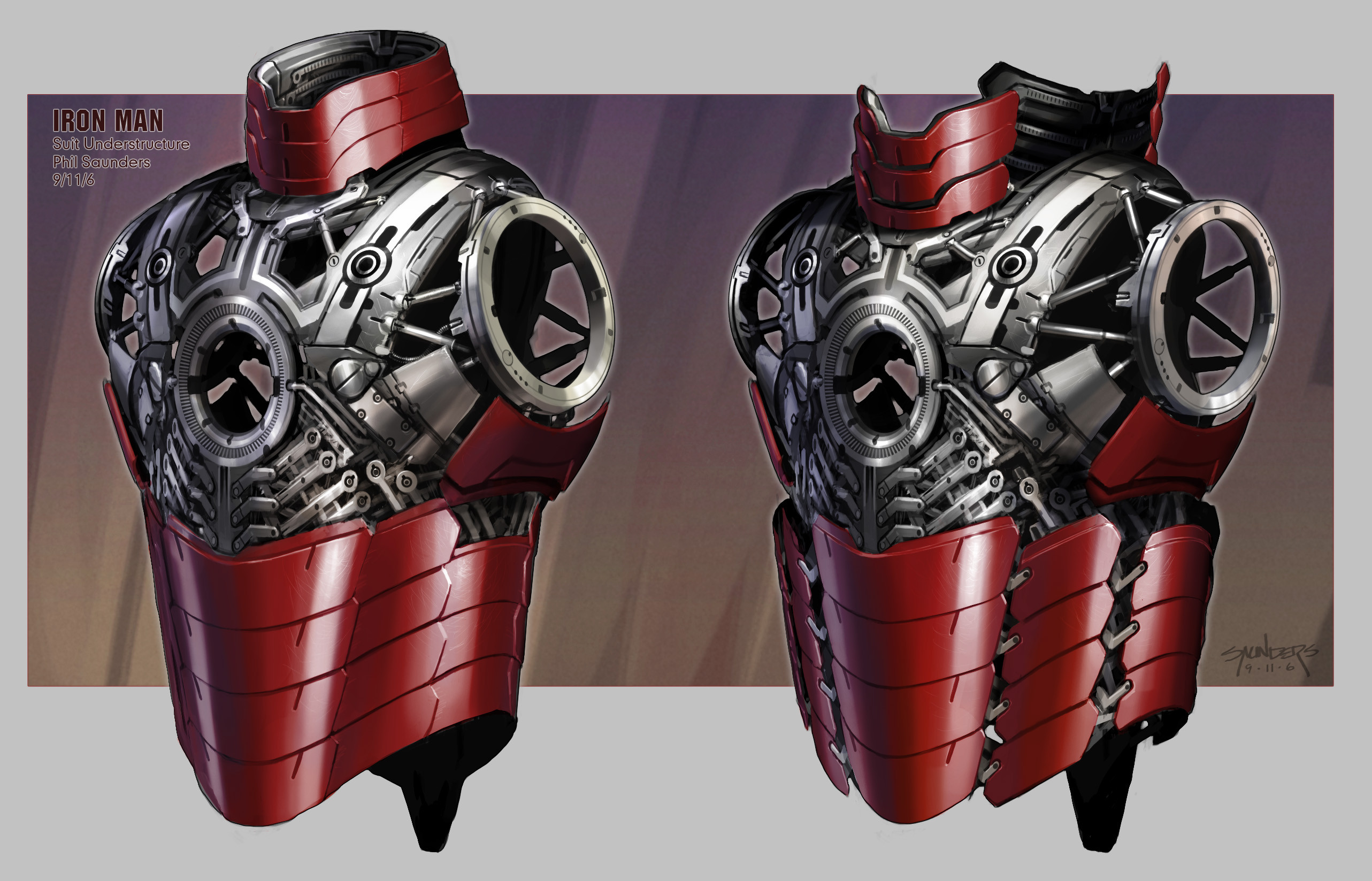 The torso section, which would expand like a watch band to allow Tony to slip into it as one piece.