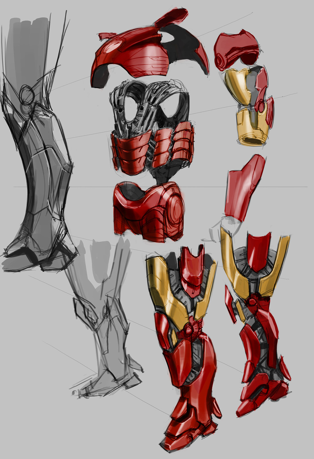 A rough sketch of how the suit would be broken down into its major components.