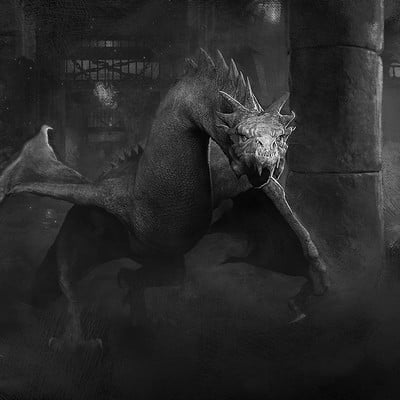 Pablo olivera dragon concept color rozado caminando frente final blanco y negro