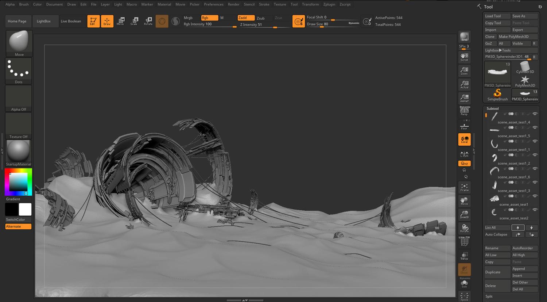 Desert wreckage sci-fi in ZBrush 2018
