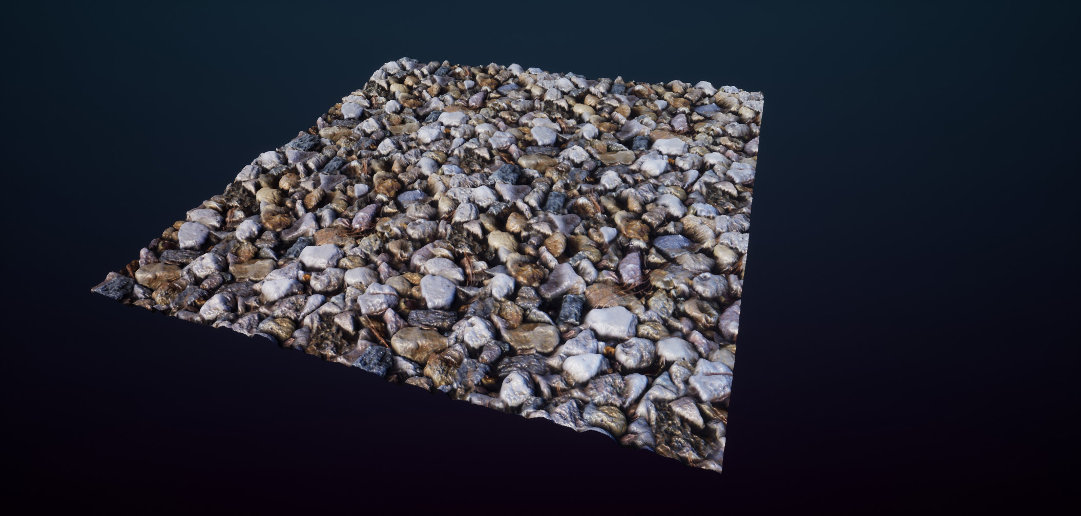 Finished product tiles 2x horizontally and vertically on a high-poly plane