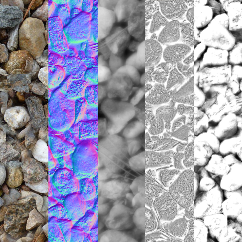 This Material uses a diffuse, normal, height, roughness and an AO map for the material. (metallic parameter used in the UE4 material is the invert of the roughness texture multiplied by a 0-1 scalar parameter)