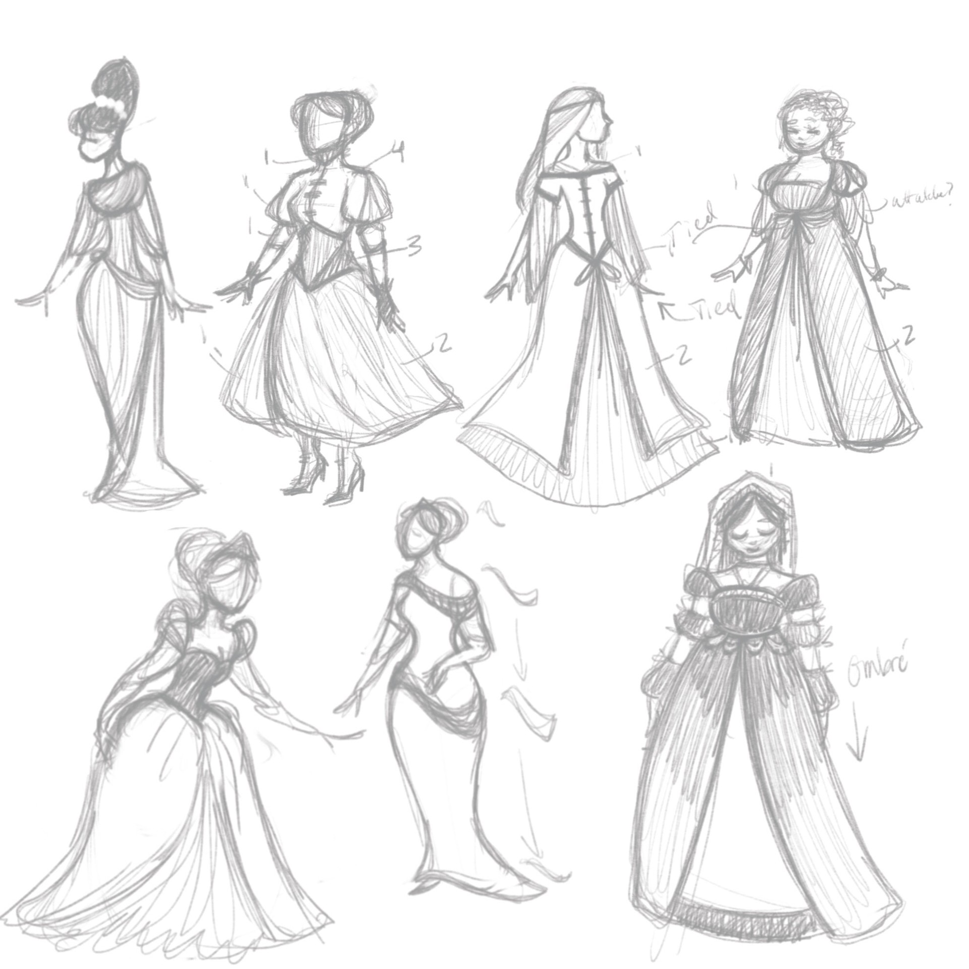 Virginia Skinner , Character and outfit sketches