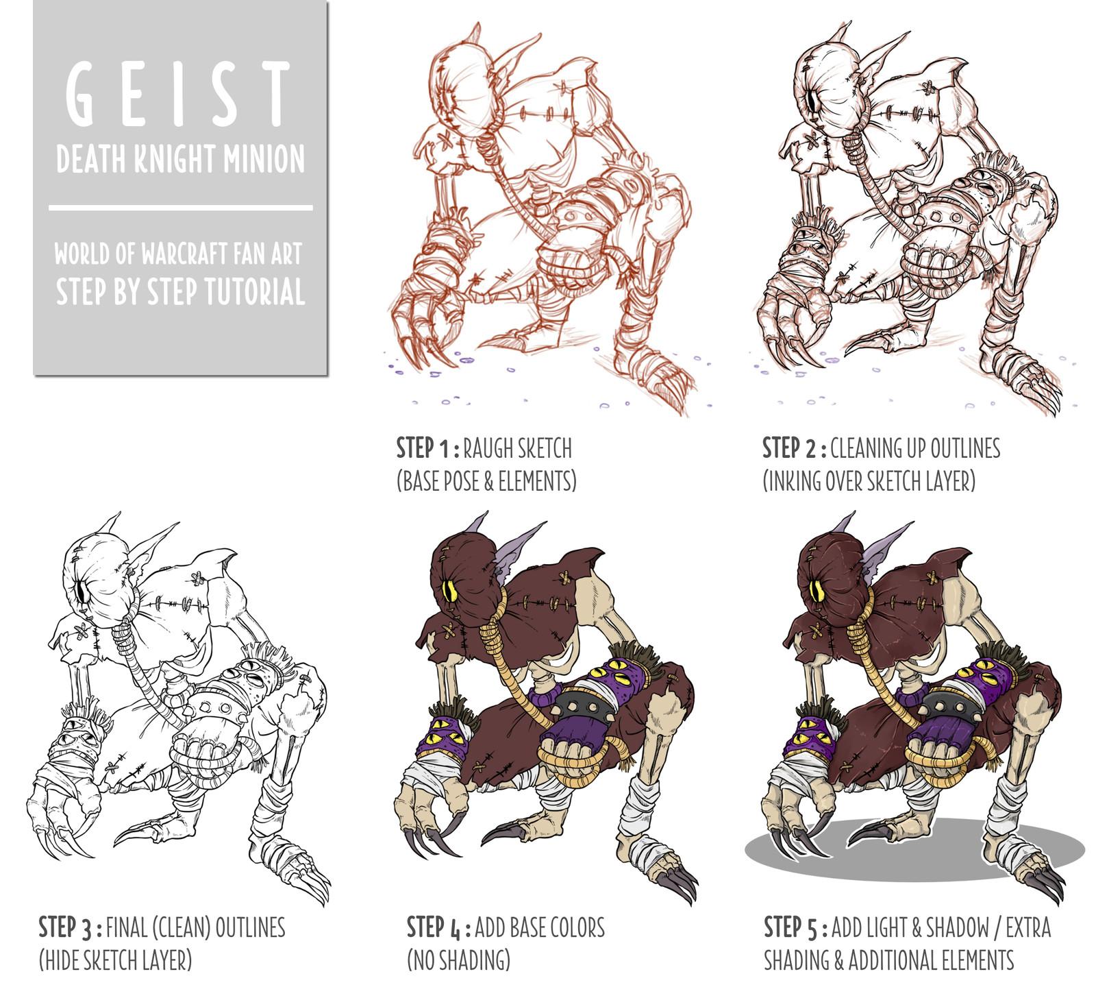 "Creation steps of ""Geist"" FanArt"