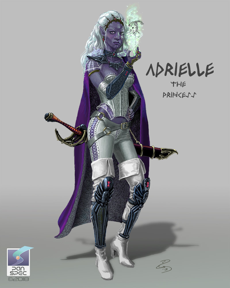 Adrielle the Drow Princess.  Abducted by Duergar, Adrielle is rescued by Bjorni and his adventurers, and through her immodest attitudes of her people, unbalances the stoic Norse.