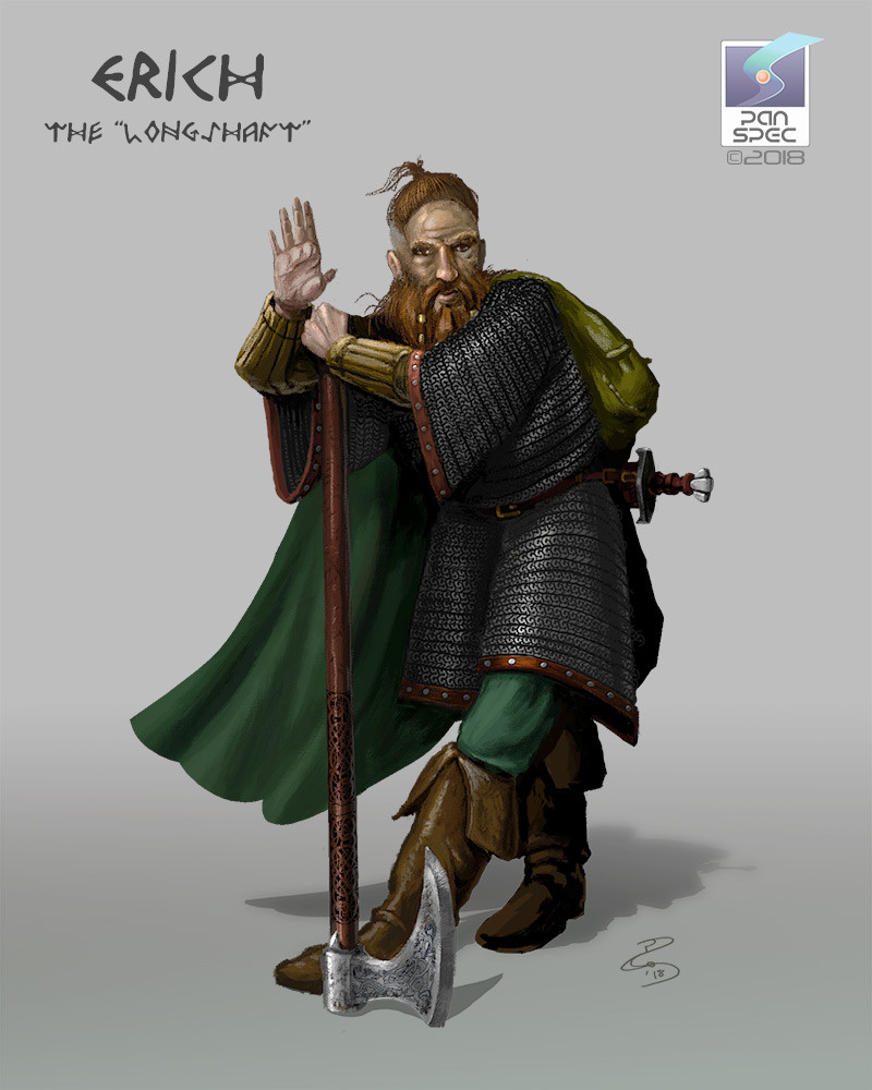 """Erich the """"Longshaft""""  Named for his great axe - a family heirloom - Erich is a family man fighting for their safety, willing to put everything on the line for them, though their gratitude is often very distant."""