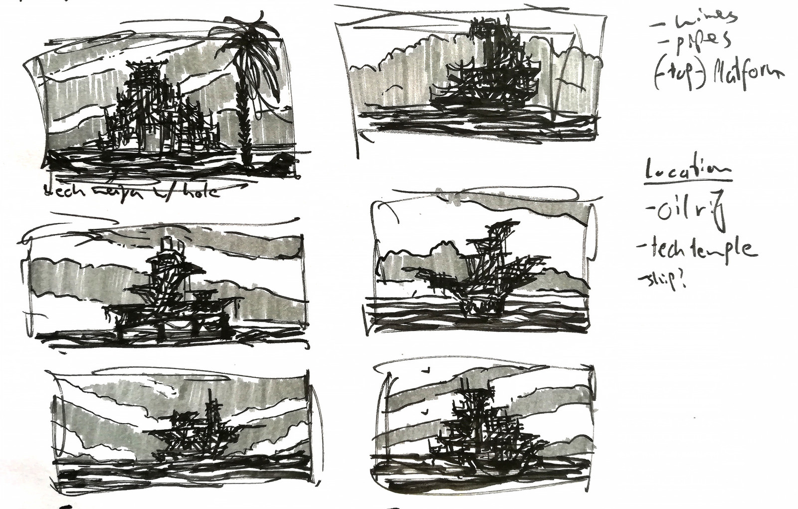 Here my thumbnails. They were my only reference for the shape of the platforms as I want to stick close to the looseness of ideas in quick sketches. Yet, much got lost in the modelling process.