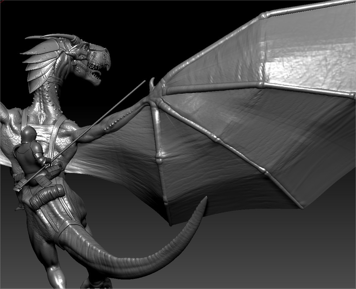 Knight 1 + dragon 1 posed in Zbrush