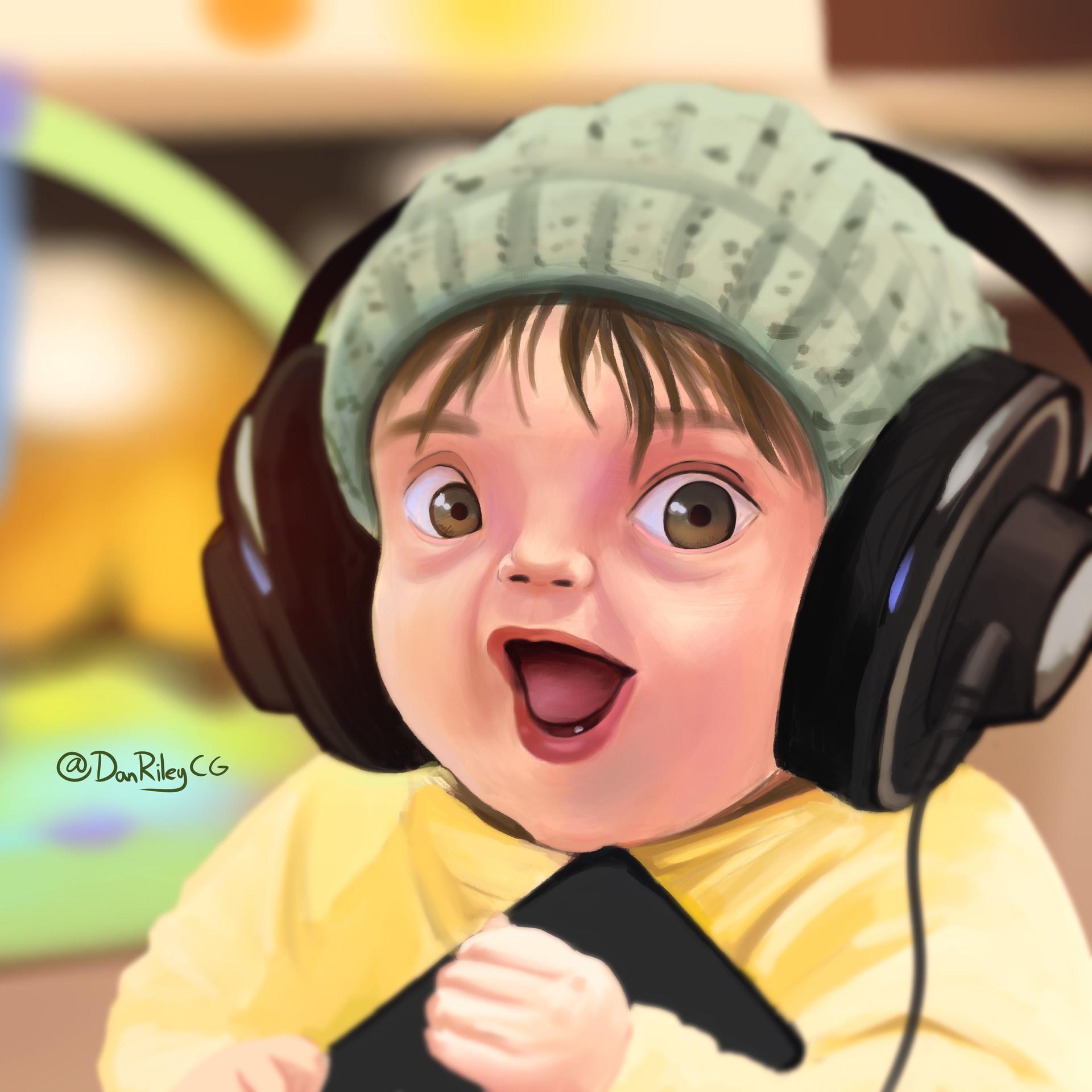 ArtStation - Headphones Baby (Reddit Gets Drawn), Dan Riley