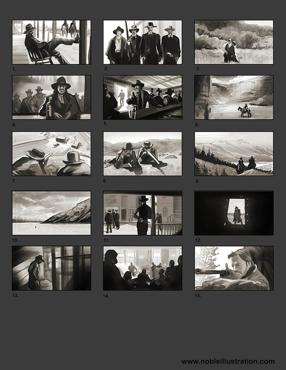 Film Studies: At the beginning  of the challenge I flipped through several films in the genre to find interesting shots. From there I gathered up a deck of photos then made these studies directly or in some cases modified into a new shot all together.