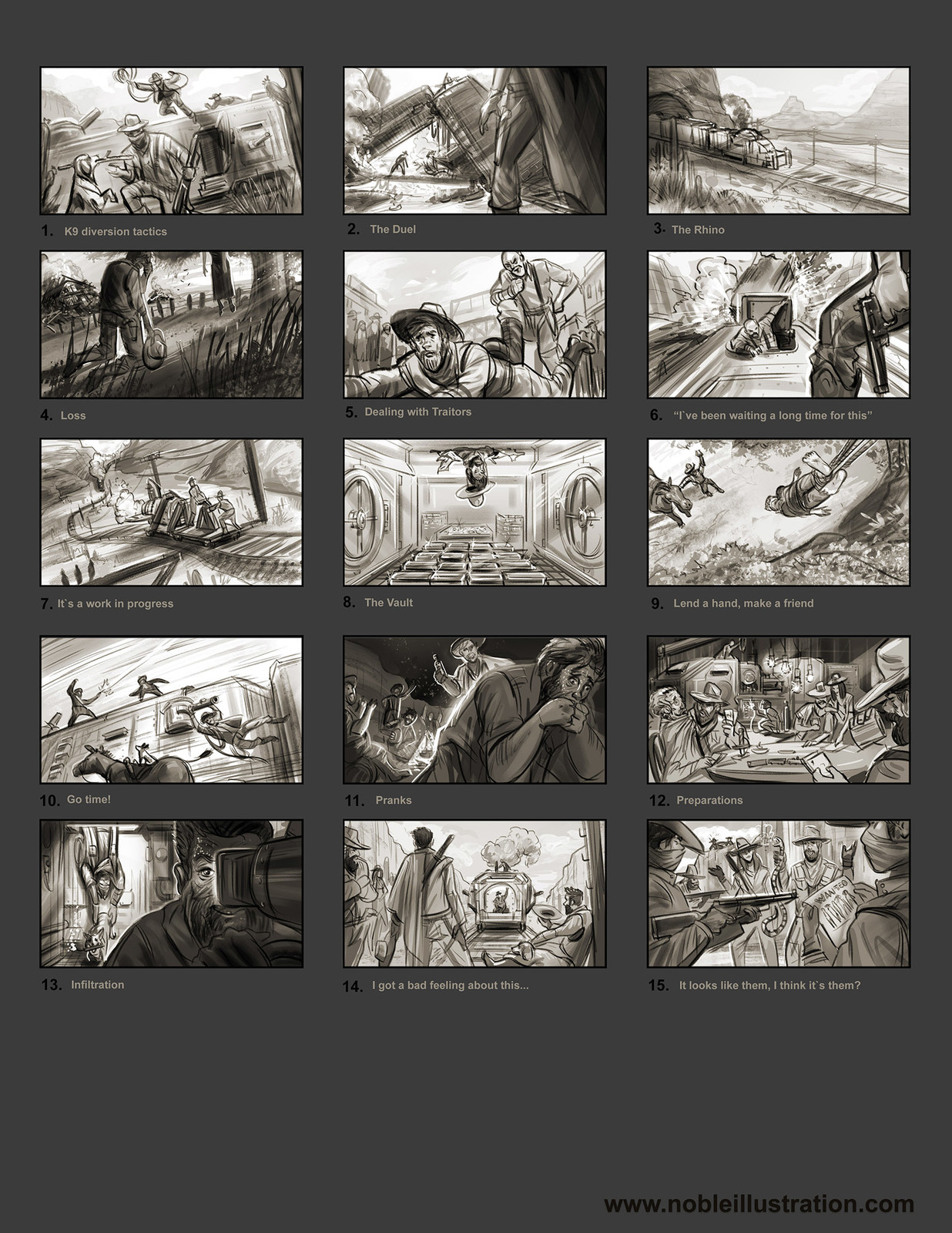 Thumbnail Studies: I started by writing down a quick plot summary Then I started sketching out different beats in the story using thumbnail sketches. Im not much of a writer so for me pictures do a far better job.