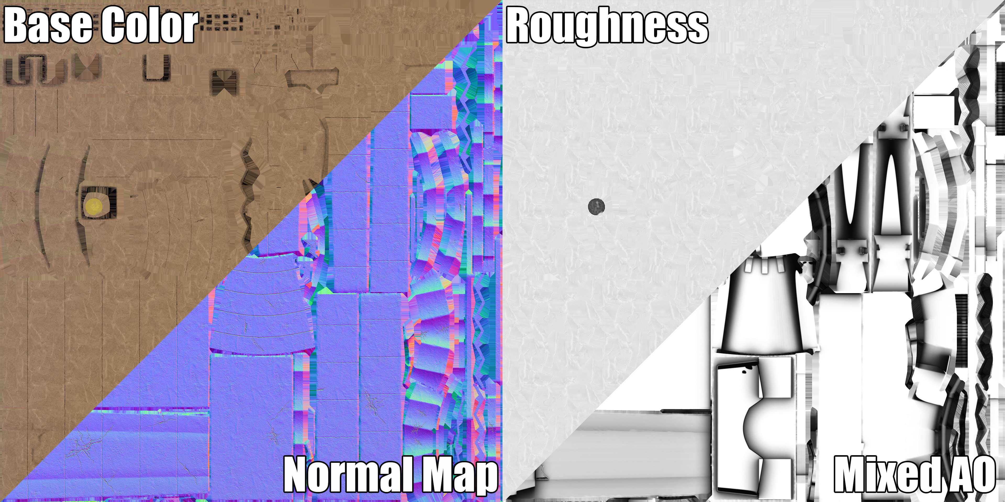 Statue Frame. Texture Maps Example.
