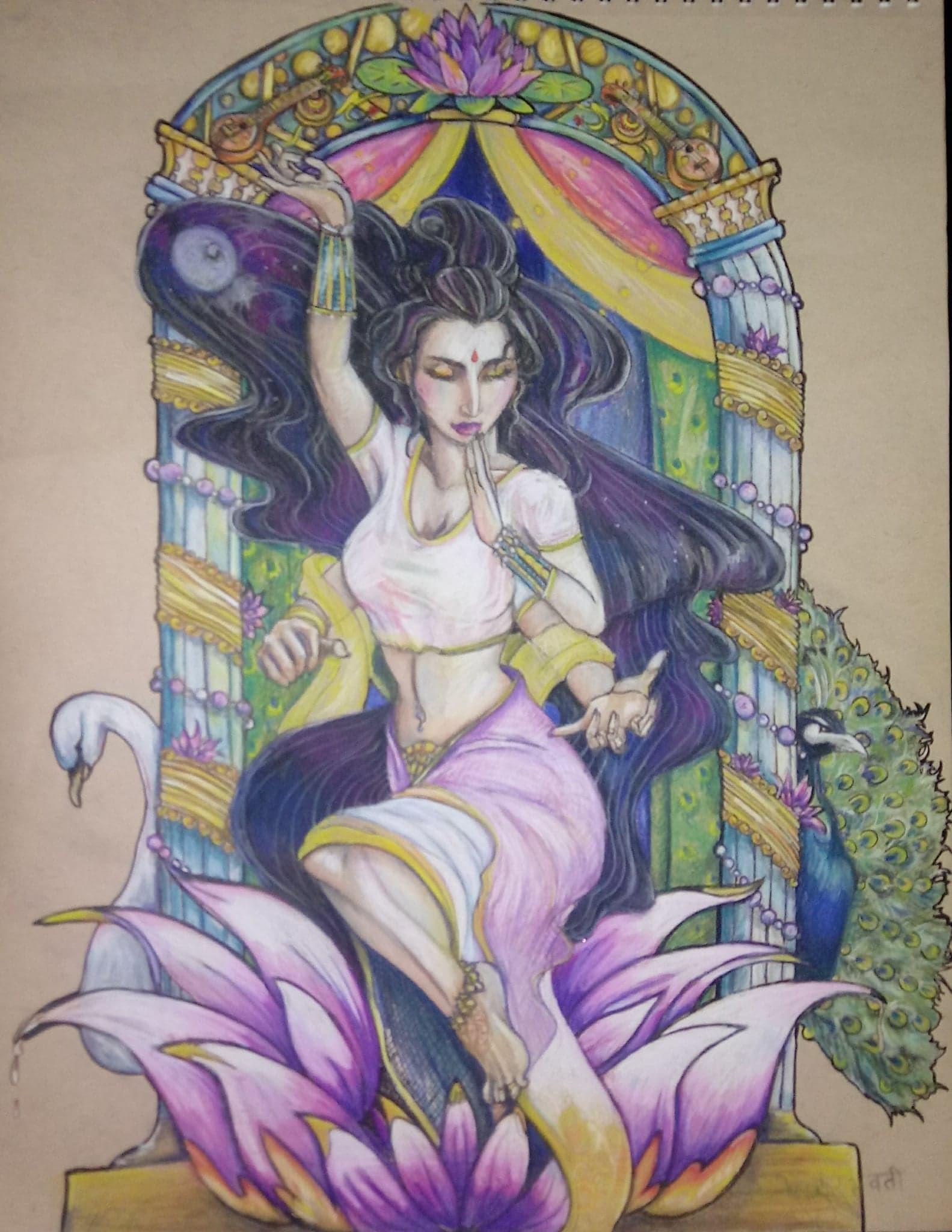 Inspired by the Hindu goddess Sarasvati/Saraswati.