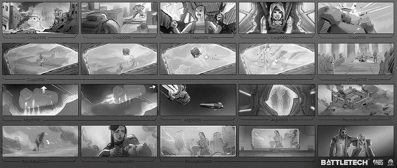 Ingame cinematics storyboard extract.