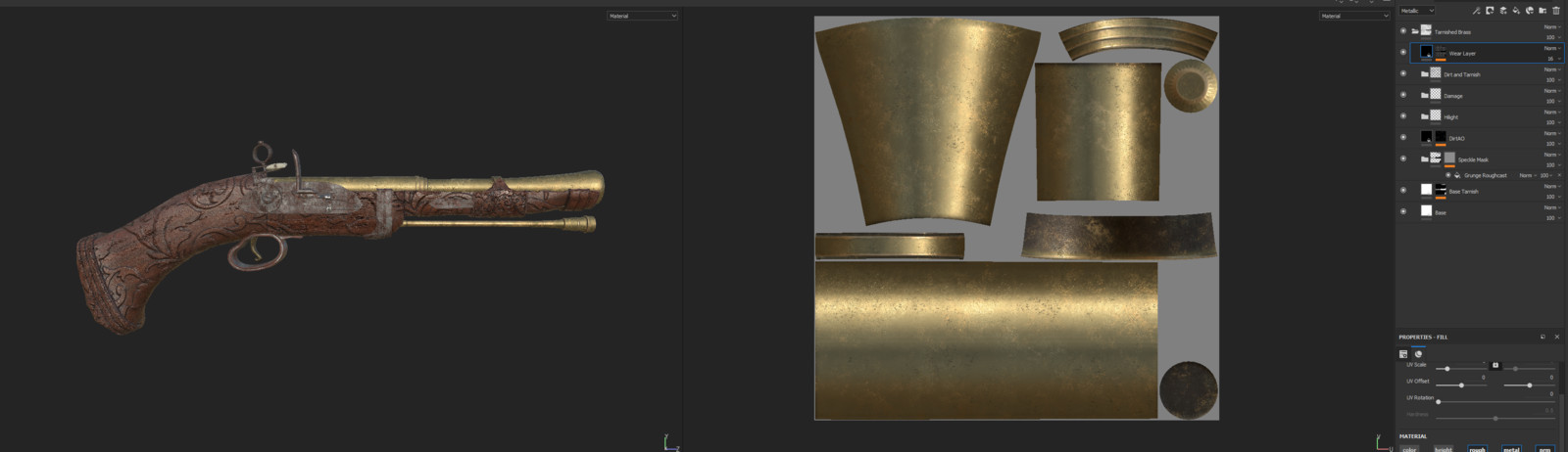 Brass texture used a few layers of tarnish and dirt adjusted with mask generators and procedurals. Added a hilight layer in the middle to add shine onto brass rings and an overall sheen. Added gun powder to barrel opening.