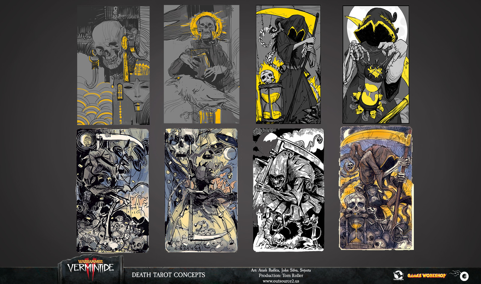 Being the first Tarot we created for the intro, Death took us a multiple iterations to get right.