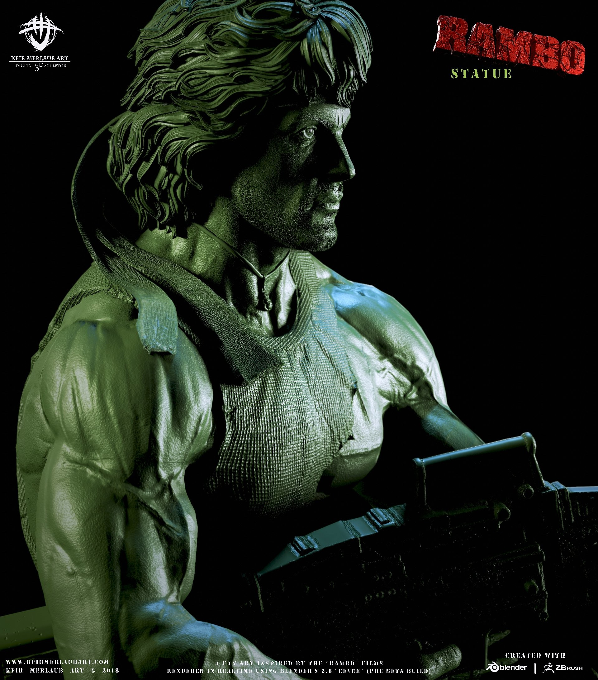 ArtStation - Rambo Statue | Kfir Merlaub Art, Kfir Merlaub