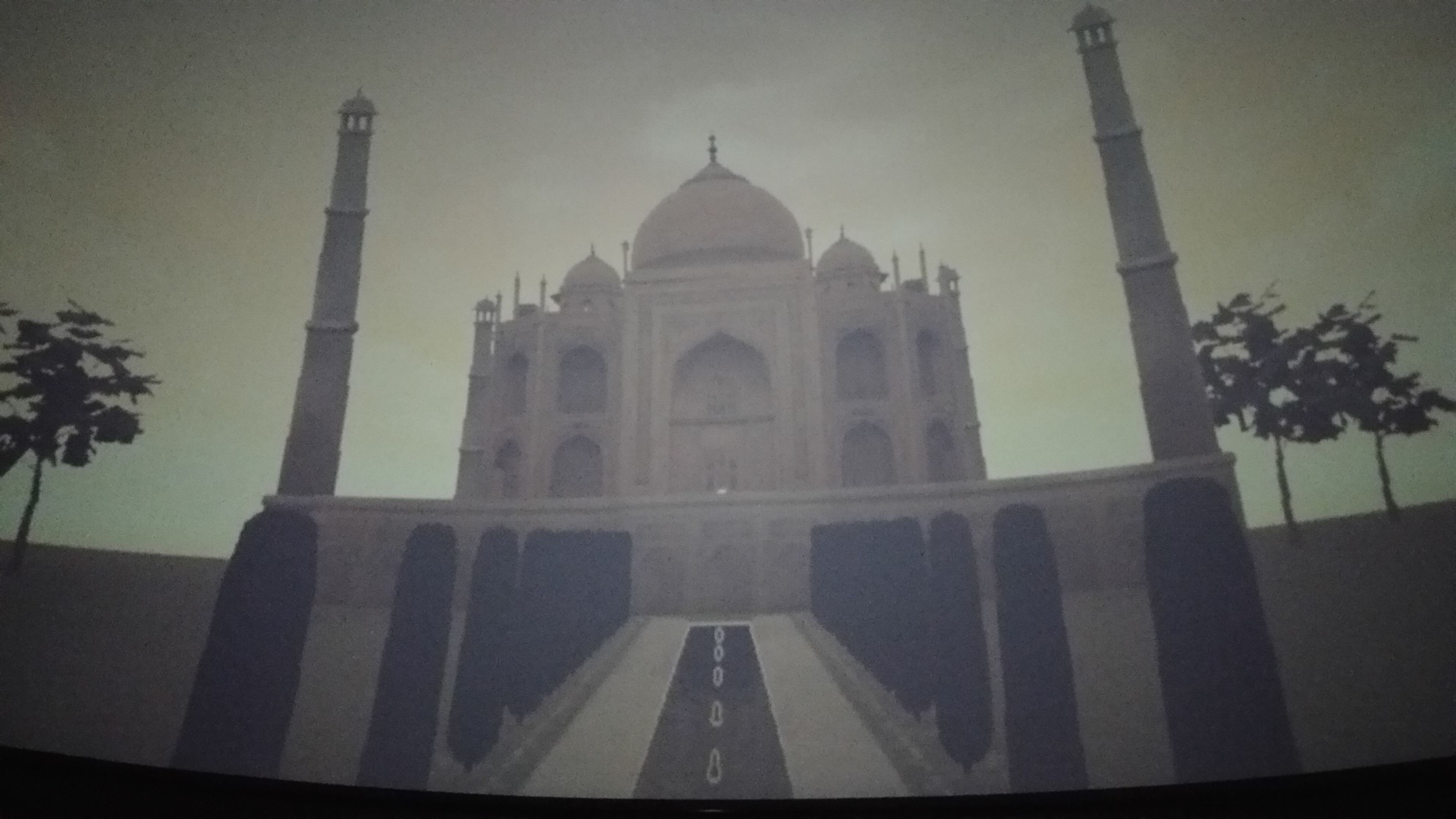 Photo of animation projected onto the dome in the planetarium in the Grand Rapids Public Museum. Other assets were made by my classmates.