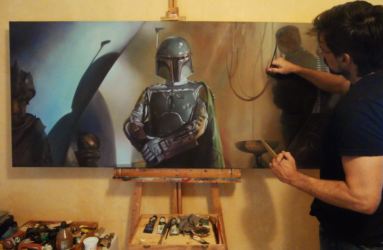 Pablo olivera boba fett oil painting canvas 04