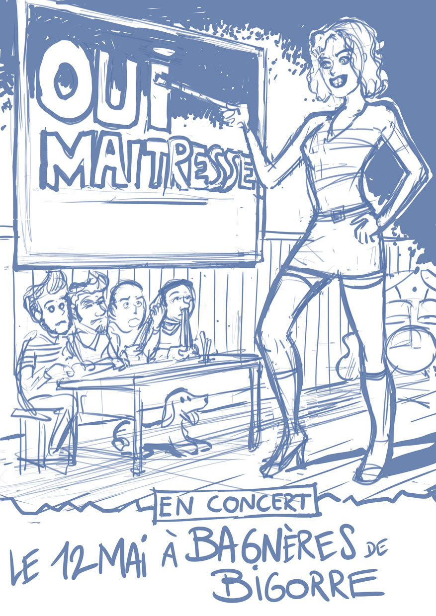 Serge fiedos oui maitresse rock concert poster by serge fiedos wip1