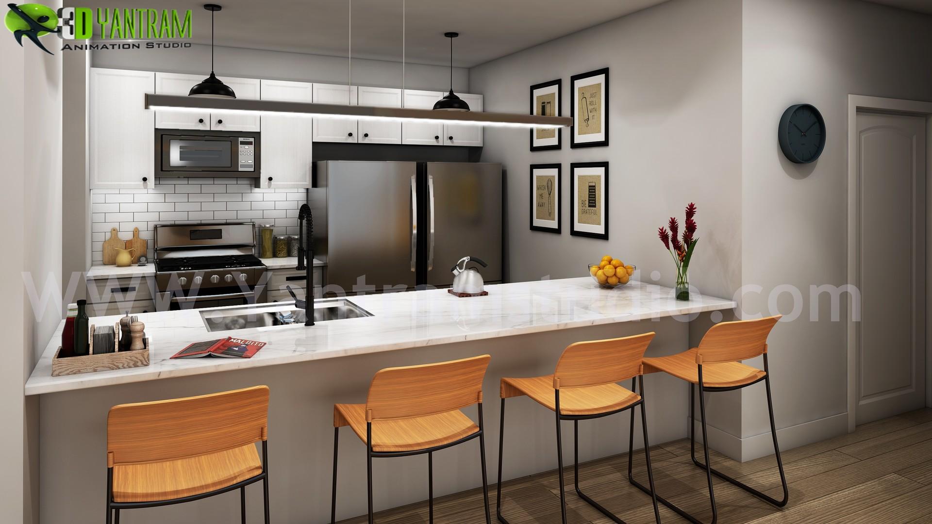 Yantram Architectural Design Studio Modern Small Kitchen Design Ideas By Yantram 3d Interior Rendering Services Berlin Germany