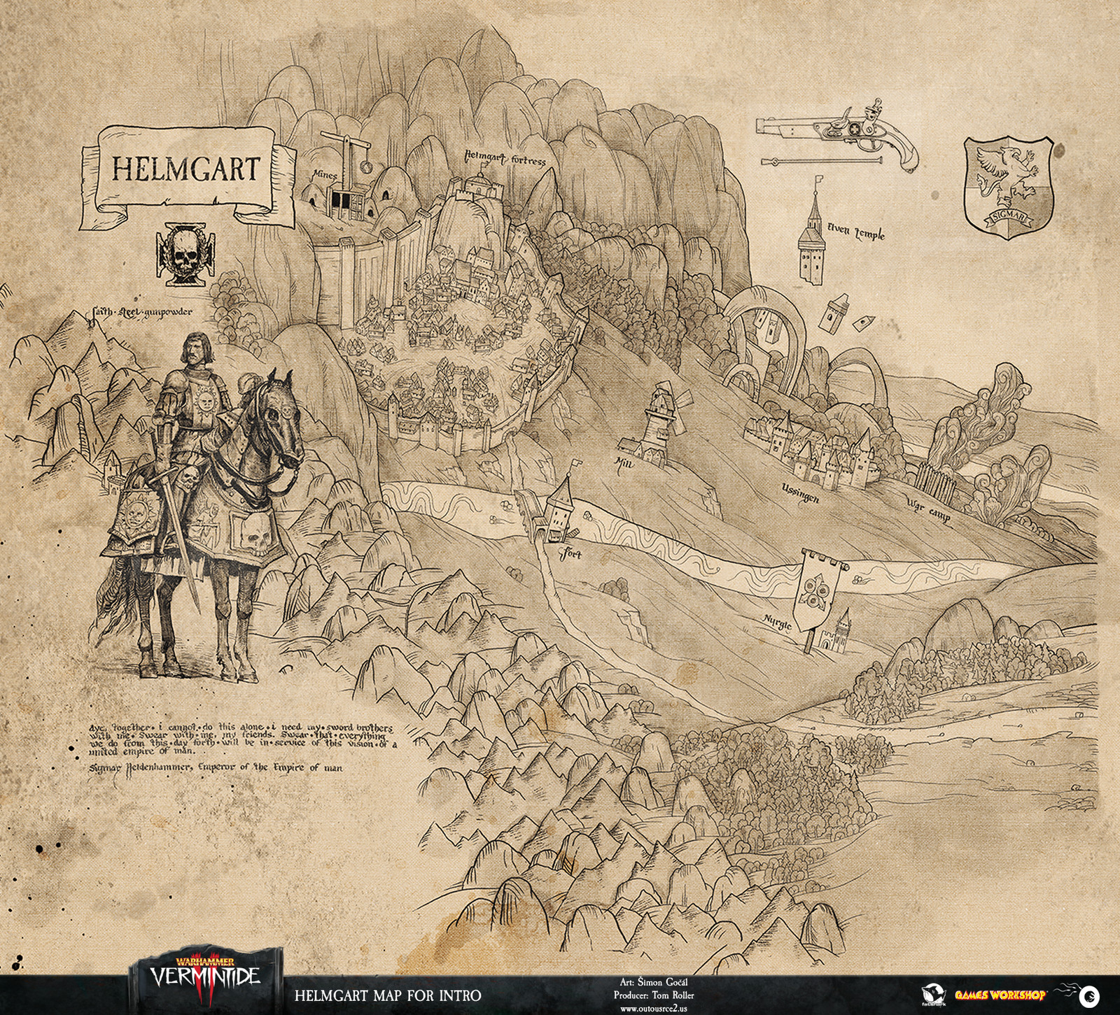 The maps of Vermintide II's CG intro allowed us to combine the art of cartography with our love for medieval  illustration.