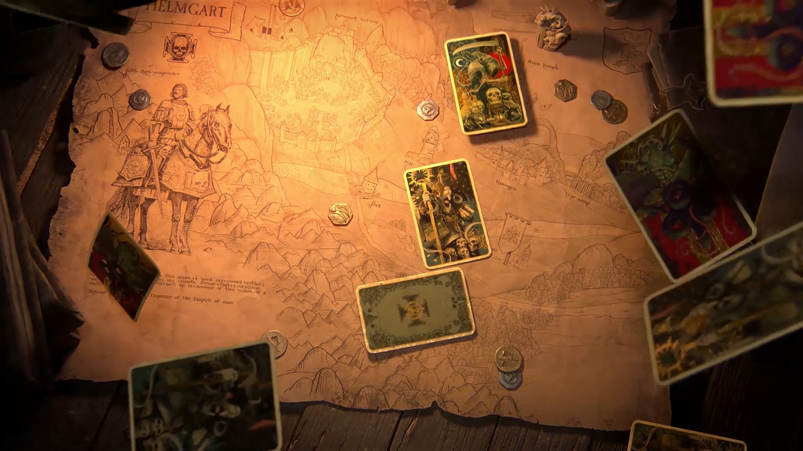 The cut-scene ends with the shot of Helmgart invaded by the enemy - represented by tarot cards.