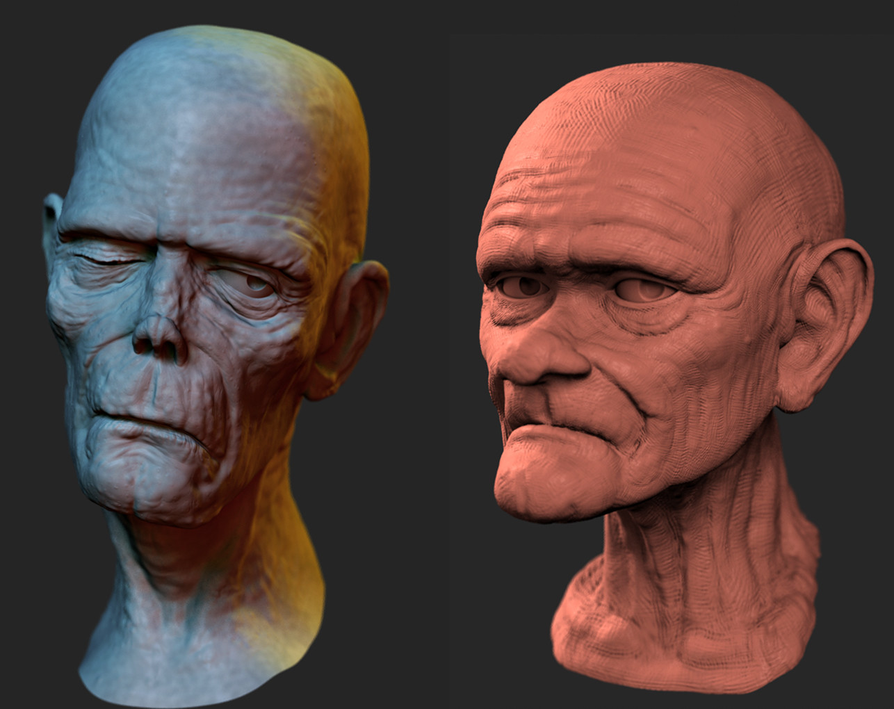 Two ZBrush heads rendered in MODO