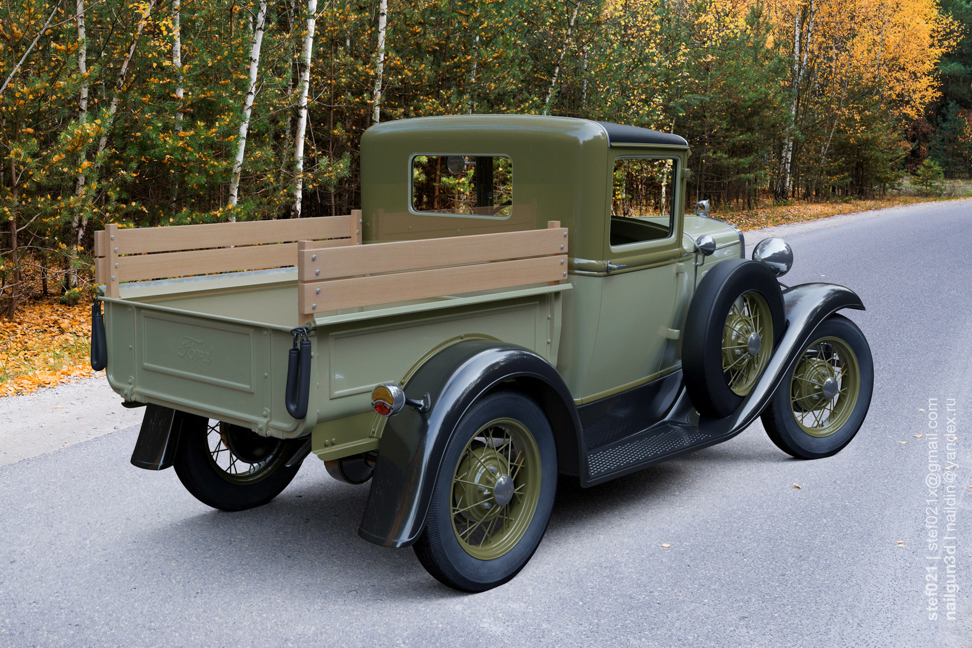 Nail khusnutdinov a0007 ford a pickup 1931 render green 2