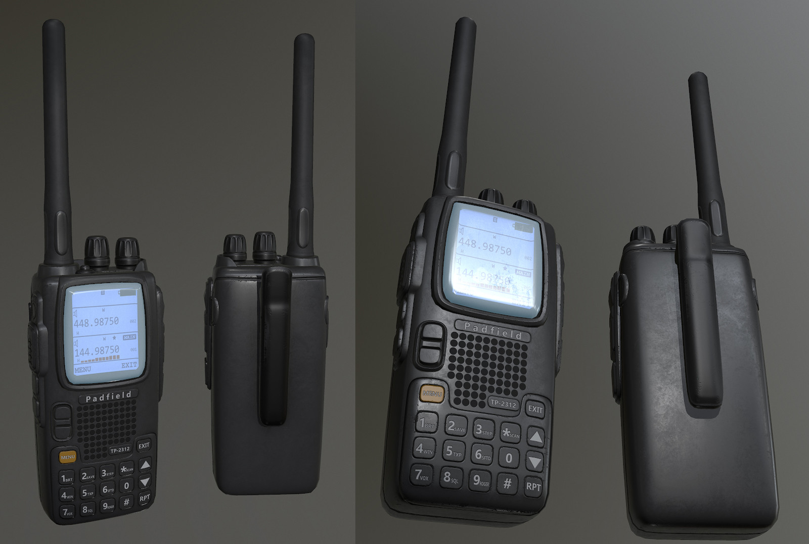 Radio high poly was a bought asset. I fixed the errors then made the low poly and textures.
