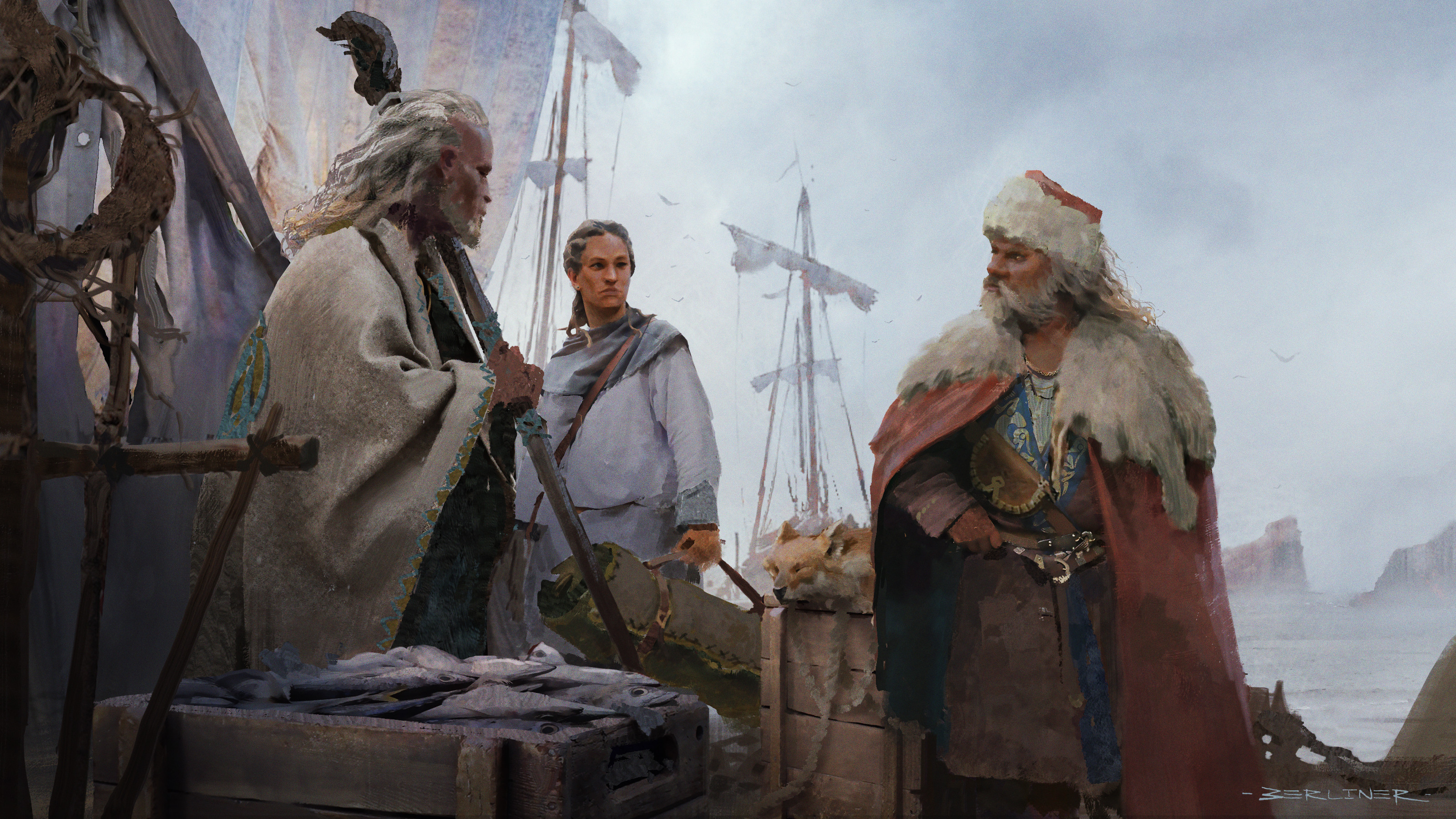 5. They went down to the docks, where the harbormaster came hastening to welcome Ogion and ask what service he might do. The mage told him and at once he named a ship bound for the Inmost Sea aboard which Ged might go as passenger.