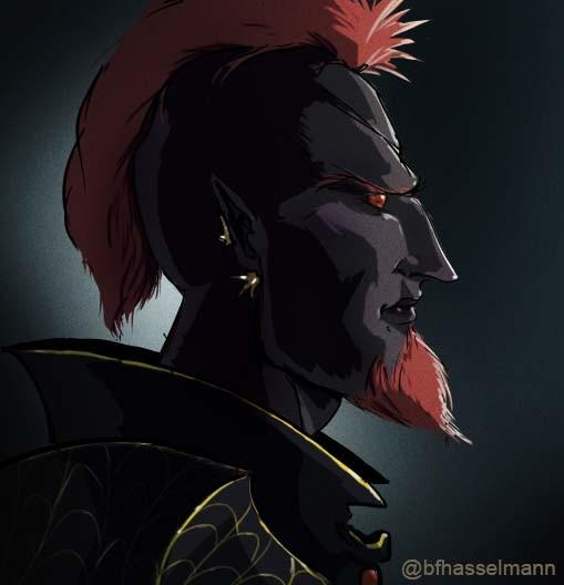 Bearded Male Drow Warrior